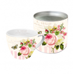 Rózsa mintás csésze dobozban
