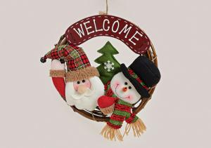 Ajtódísz welcome mikulás-hóember