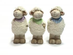 Álló bárány kockás sállal zöld,lila,kék