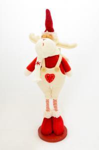 Rénszarvas álló textil 30cm piros-fehér fiú