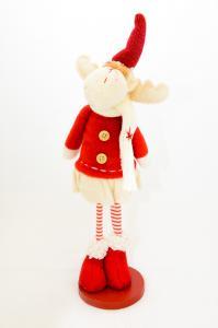 Rénszarvas álló textil 30cm piros-fehér lány