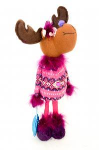 Rénszarvas tollas ruhában álló textil 38 cm barna-lila-pink