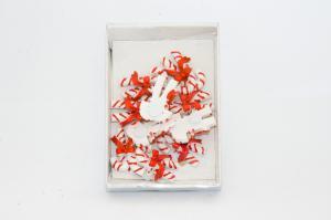 Mályvacukor ragasztós poly 4,5cm piros-fehér