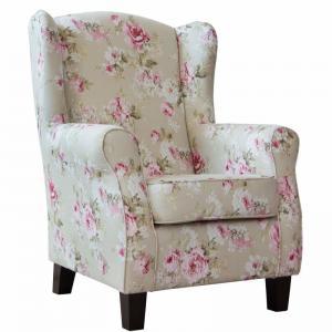 Chandler füles fotel rózsák világos szürke