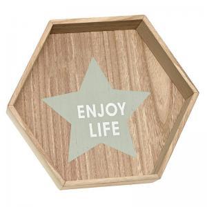 Díszpolc enjoy life felirattal