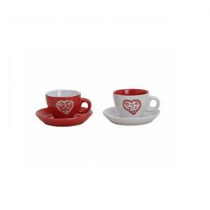 Espresso csésze LEMEZ CERAMIC piros-fehér