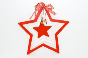 Csillag ajtódísz akasztós fa 20x30cm piros-fehér-zöld