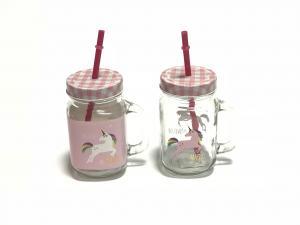 Fehér Unicorn és Pink Unicorn szívószálas üveg
