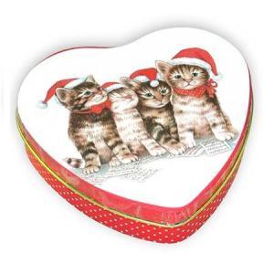 Fém teásdoboz szív alakú cicás karácsonyi