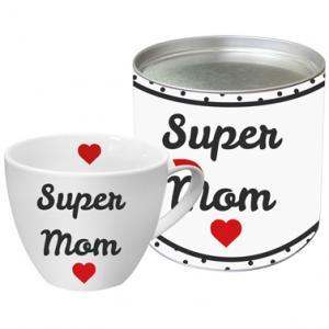 Fémdobozos bögre Super Mom felirattal