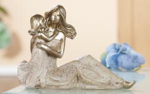 """Figura """"Anya lányával"""" antik arany"""