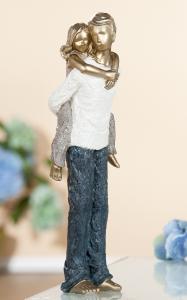 """Figura """"Apa a lányával"""" antik arany"""