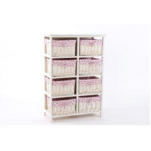Fiókos szekrény,fa,szövet, 8kosár, rózsaszín