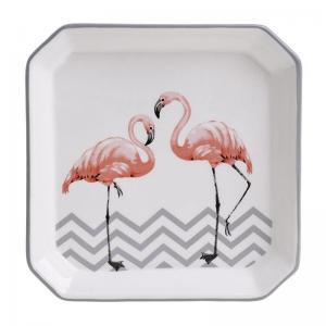 Flamingós kerámia tányér