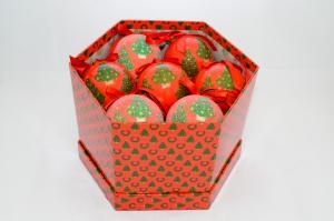 Gömb díszdobozban karácsonyfás műanyag 7,5cm piros
