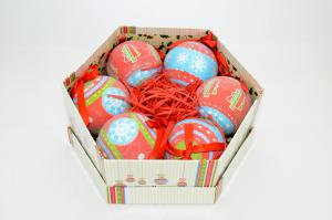 Gömb díszdobozban karácsonyfa,hópehely műanyag 7,5cm piros-kék
