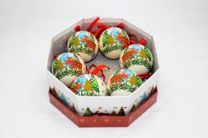 Gömb díszdobozban karácsonyfadíszes műanyag 7,5cm multicolor