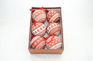 Gömb díszdobozban karácsonyfadíszes műanyag 7,5cm piros-fehér