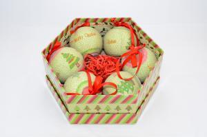Gömb díszdobozban karácsonyfás műanyag 7,5cm zöld