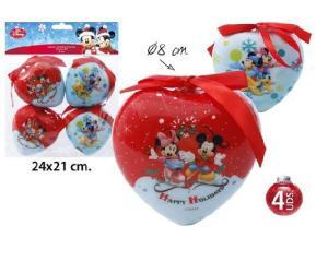 Gömb szív Mickey-Minnie 4db