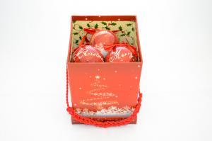 Gömb zenélő díszdobozban Merry Christmas 6cm piros 8db/doboz