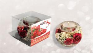 Gyertyatartó dobozos rózsa piros-fehér (KÉSZLETHIÁNY)