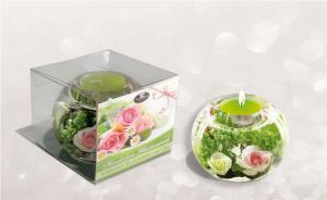 Gyertyatartó dobozos rózsa zöld-fehér-rózsaszín