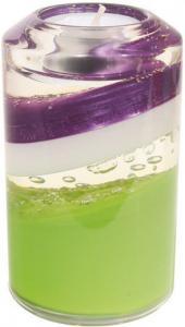 Gyertyatartó henger lila-fehér-zöld