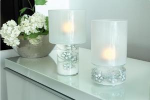 Gyertyatartó lámpás virágos fehér
