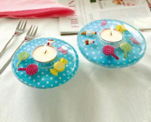 Gyertyatartó ufo kicsi sweet cupcake kék