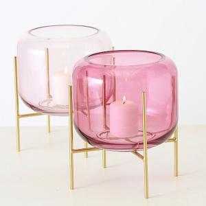 Gyertyatartó üveg rózsaszin