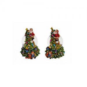 Hógömb karácsonyfát mászó mikulás zenélő