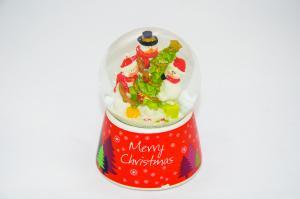 Hógömb Merry Christmas hóemberek karácsonyfával