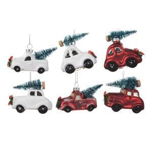 Karácsonyfadísz autó fehér-piros