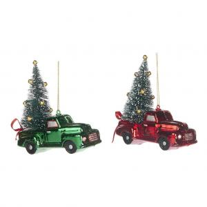 Karácsonyfadisz auto piros/zöld