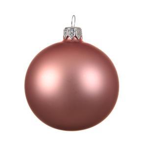 Karácsonyfadísz rózsaszin matt 8cm 6db/csomag