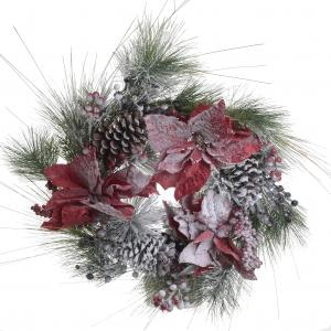 Karácsonyi ajtódísz mikulásvirágos