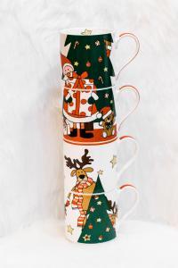 Karácsonyi bögre 4 darabos télapó és barátok fa