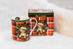 Karácsonyi bögre szűrővel díszdobozban Xmas Kitty