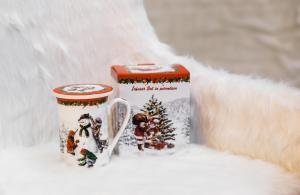 Karácsonyi bögre szűrővel díszdobozban hóember