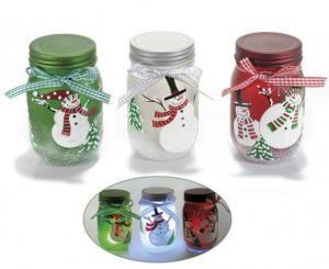 Karácsonyi díszített befőttes üveg világítós