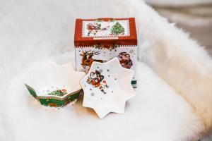 Karácsonyi tál 2 darabos díszdobozban Vintage Xmas
