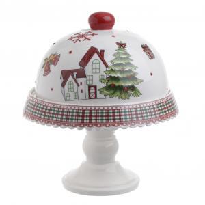 Karácsonyi tortatartó fedővel