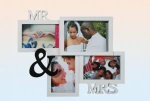 Képkeret 4 fotó MR&MRS fekete