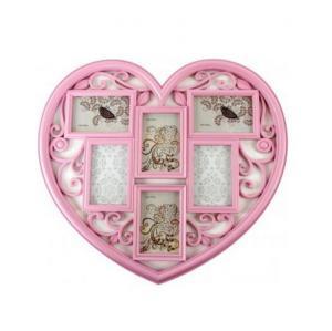 Képkeret szív 6 fotó rózsaszín