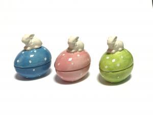 Kerámia tojás nyúllal kék,rózsaszín,zöld
