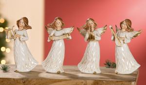 Krém kerámia angyalok