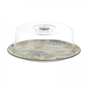 Levélmintás tányér fedővel