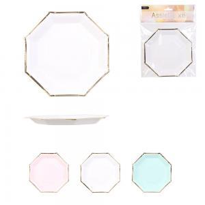 Papir hatszögletű tányér