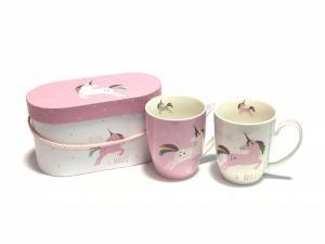 Pink és Fehér Unicorn bögre szett díszdobozban